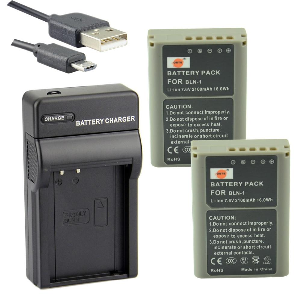 DSTE 2 PCS BLN-1 Li-ion Batterie + UDC133 USB Port Chargeur pour Olympus E-M5 OM-D E-M1 E-P5 E-M5 II Caméra