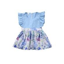 Милое хлопковое милое платье трапециевидной формы с рукавами-лепестками и круглым вырезом на молнии сзади и цветочным принтом для маленьких девочек летний праздничный костюм для детей от 0 до 24 месяцев