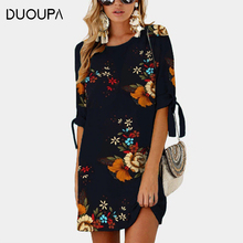 DUOUPA 2019 Women Summer Dress Boho Style Floral Print Chiffon Beach Tunic Sundress Loose Mini Party Vestidos Plus S