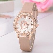 Браслет кожаный ремешок часы Для женщин сердце часы Топ Роскошная брендовая Дамская мода Повседневное женский часы Relogios Femininos