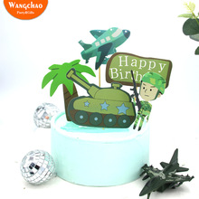 1 Set Tank Airplane Military Army Party Theme Cake Topper Boy Party Favors Children's Birthday Cake Supplies Party Decorations