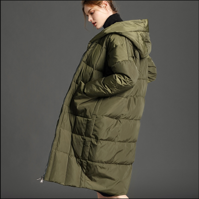 Di inverno delle donne giù giacca di Grandi dimensioni Addensare Con Cappuccio Allentato Lunga Piena
