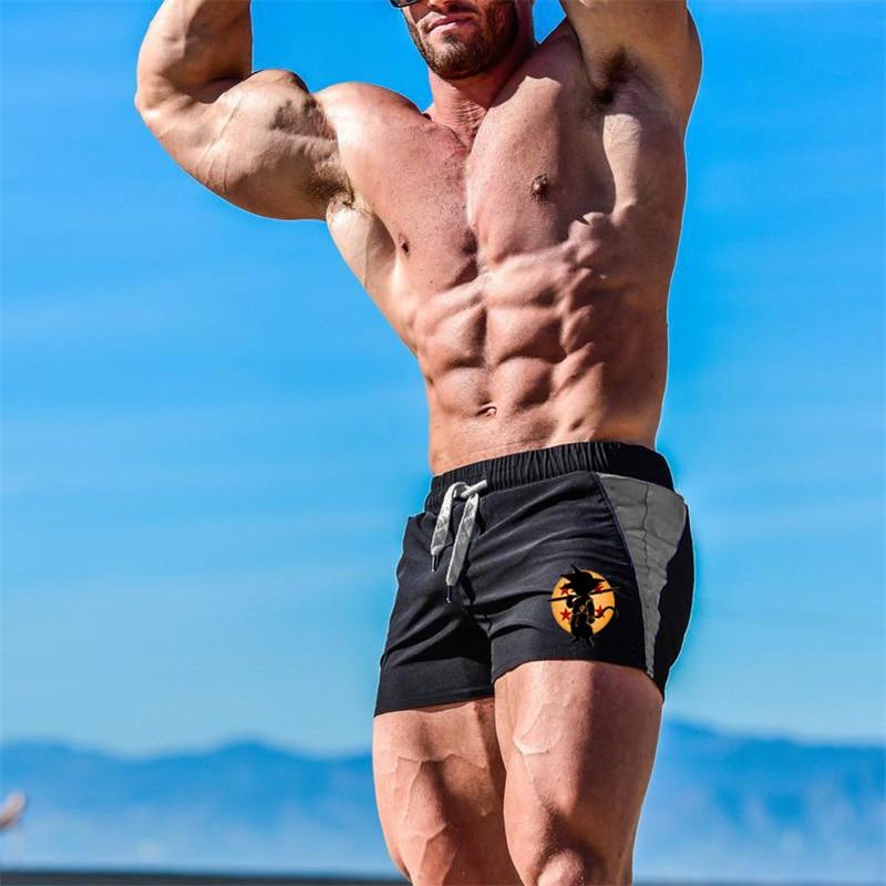 Enjoy Sunshine Grid Mens Workout Shorts with Side Pocket and Adjustable Strings Training Bodybiulding Exercise Sports Shorts
