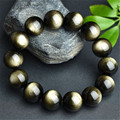 16mm Big Genuine Natural Stone Gold Obsidian Round Beads Bracelets For Women And Men Charm Elastic Powerful Stretch Bracelet