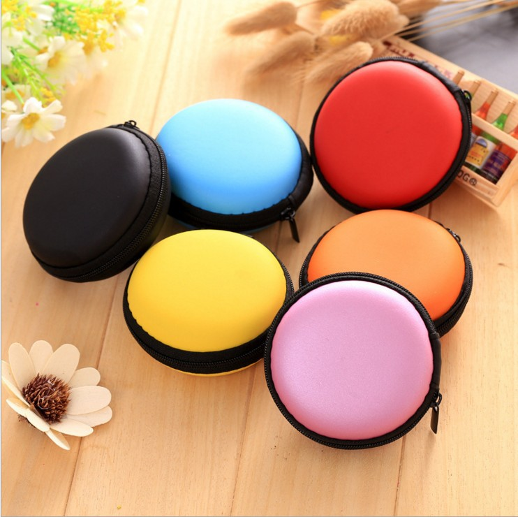 Candy Color Coin Money Purse Earphone Line Storage Bag Mini Travel Anti Pressure Round Earphone Box Packing Bag