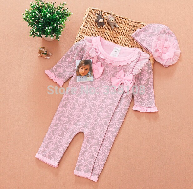 2017 Newborn Baby Girl Clothes Kids Girls 2pcs Clothing Set:Jumpsuits & Flower Hat Leopard/Floral Infant Romper for Spring summer 2017 leopard baby girl clothes newborn infant baby girls romper bodysuit headband 2pcs outfits toddler kids clothing set