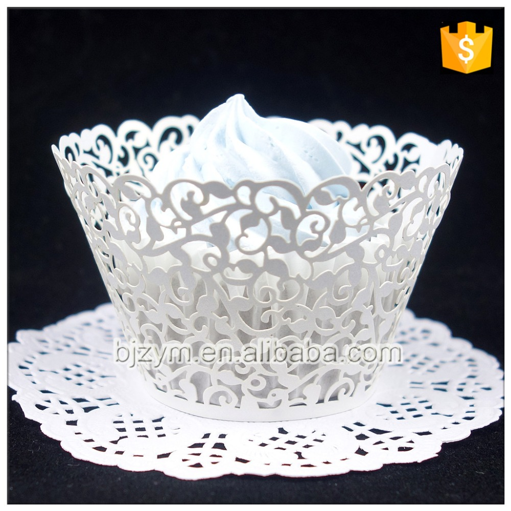 Laser Cut White Wedding Decoration Supplies Pearl Paper Vine Design Kitchen Accessories Cupcake Liners Wrappers 12