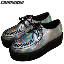 AODOLLS Plus Size 35~43 Fashion Silver Laser Hologram Women Goth Punk High Platform Flat Creepers Shoes HARAJUKU Creeper