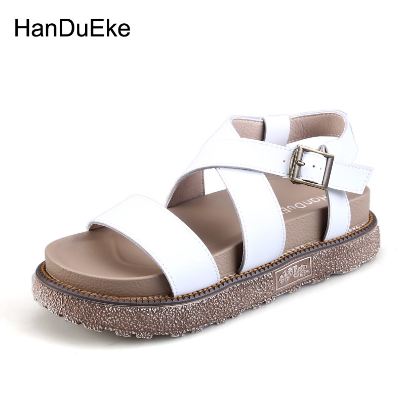 Shoes Women Summer Rome Gladiator Metal Buckle Sandals Casual Fashion High Wedges Platform Zapatillas Mujer Ankle Strap lucyever women vintage square toe flat summer sandals flock buckle casual shoes comfort ankle strap women footwear mujer zapatos