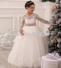 2016 Christmas Lace Flower Girl Dresses Long Sleeve Hollow Back Floor Length Bow Sash Princess Ball Gown Pageant Kids Dress KD12
