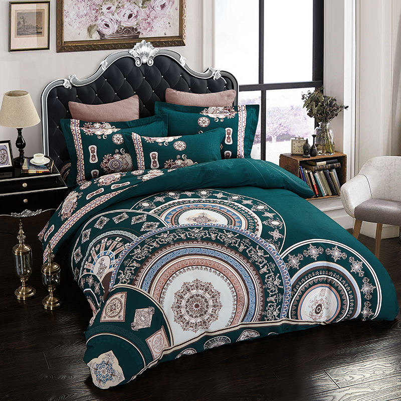 Papa&Mima Bohemian style bedlinens high quality sanding cotton fabric Queen King size Dark green duvet cover set bedding set ...