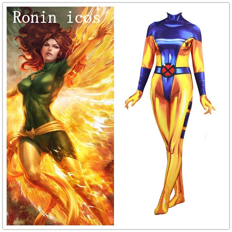 Anime x-men Jean gris-étés Phoenix Cosplay Costume Phoenix super-héros 3D adulte femmes Zentai combinaisons Halloween fête Custome