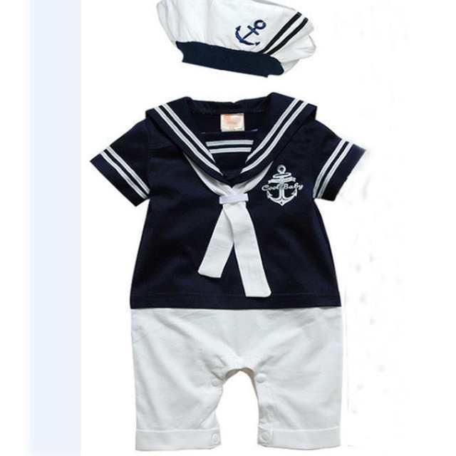 placeholder Roupas meninos da criança 2 pcs marinheiro da Marinha do bebê  de Algodão de Manga Curta 2c8dddd1cb9