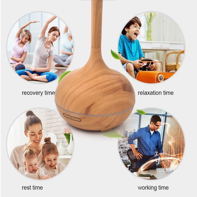 400Ml Aroma Essential Oil Diffuser Ultrasonic Air Humidifier With Wood Grain 7 Color Change Led Night Light For Office Home Us in Humidifiers from Home Appliances