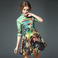 Mulheres Floral impressão bordado nó botões cheongsam vestido outono trabalho partido ball vestido mini vestidos casuais do vintage do estilo Chinês