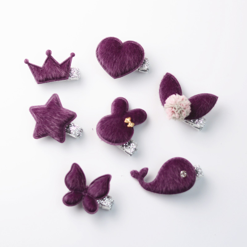 New Cute Purple Plush Rabbit Crown Girls Hair Clips Kids Hairpins Barrettes Children Hair Accessories baby cute style children accessories hairpins rabbit fur ear kids girls barrette lovely hair clip