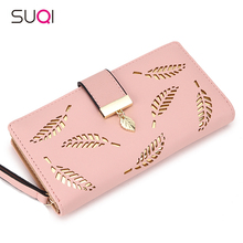 2018 Women Wallet Purse Female Long Wallet Gold Hollow Leaves Pouch Handbag For Women Coin Purse Card Holders Portefeuille Femme