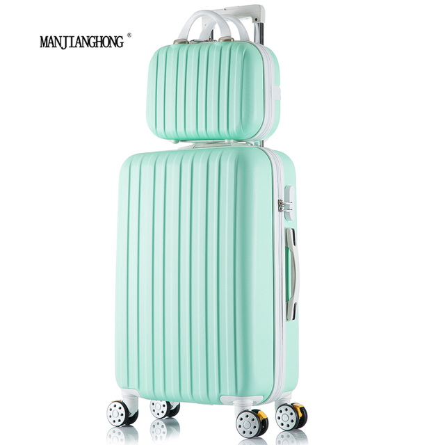 "26+12inch New surface like sandpaper stripes trolley suitcase sets/ 20"" boarding luggage/10Colors universal wheels trolley candy"