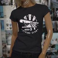 Tshirt Brand 2017 Male Short Sleeve Vintage Plane Flying Club Soaring Airplane Pilot Womens Black Tee