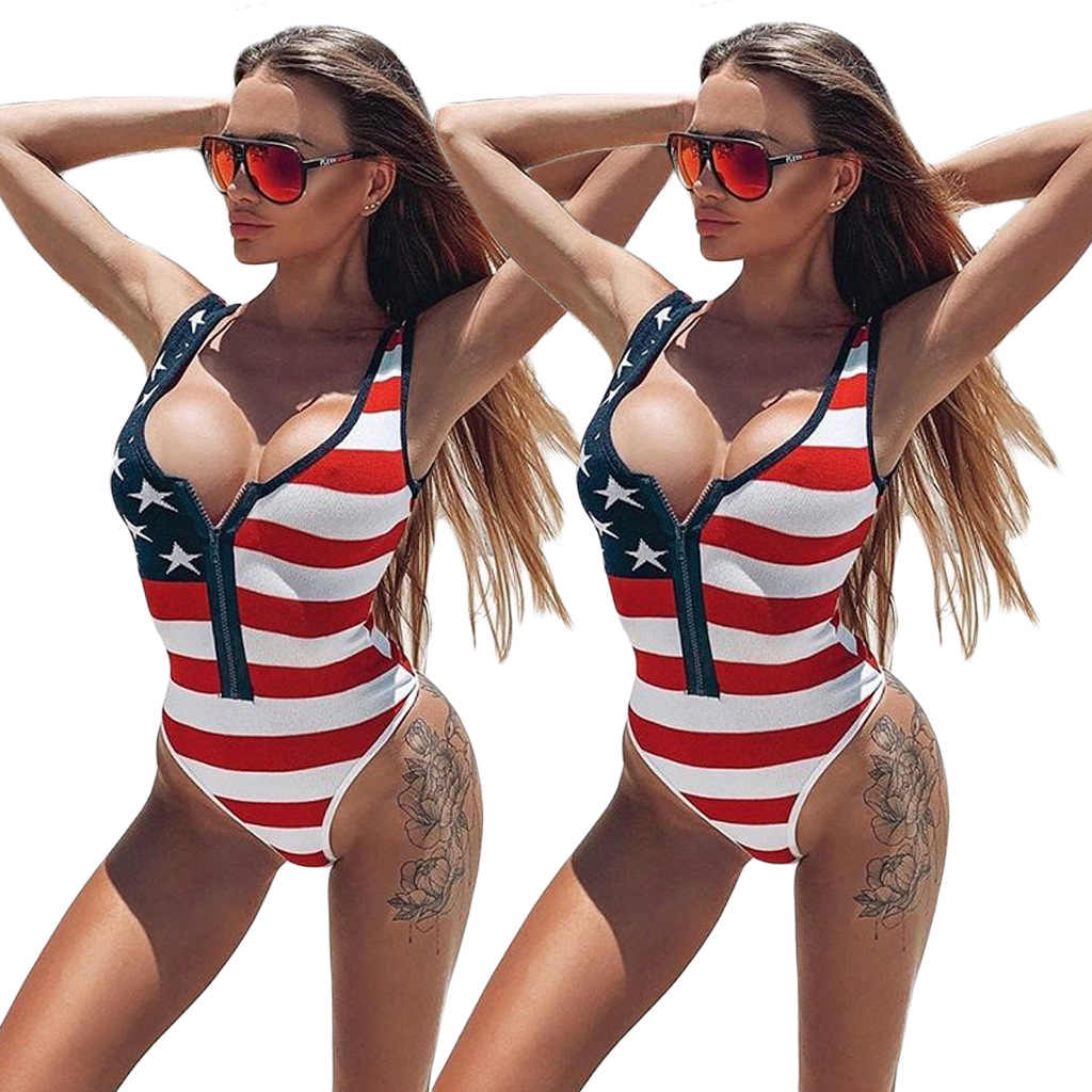 Sexy American Flag Print Women One Piece Bikini Striped Star Swimsuits For Ladies Girls High Cut Swimwear Swim Bathing Suit 2019
