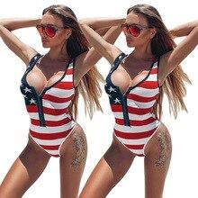 Sexy American Flag Print Women One Piece Bikini Striped Star Swimsuits For Ladies Girls High Cut Swimwear Swim Bathing Suit 2019 kids striped and star flag print vest dress