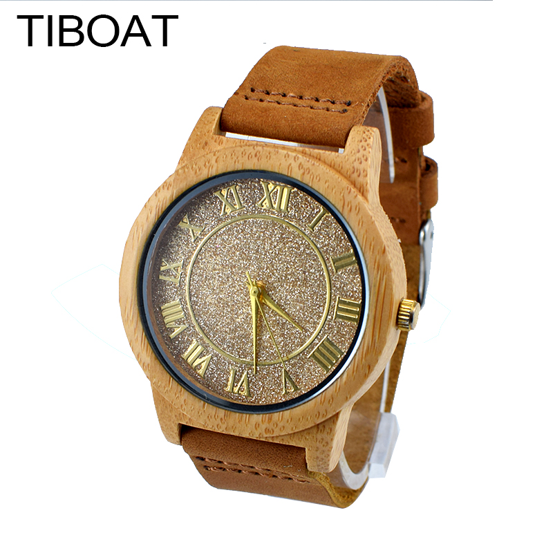TIBOAT Roman numerals fashion design watch For Men  Gifts With Genuine Cowhide Leather Watchband Wooden Quartz Watch brief faux leather roman numerals waterproof watch