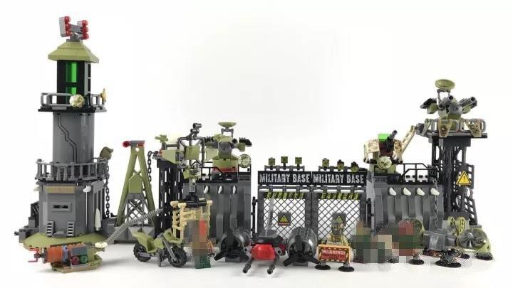 Bricolage jouets militaire armée blocs de construction défensif mur figurines éclairent jouet pour enfants ville