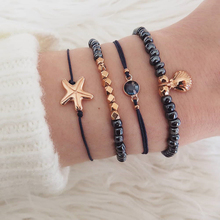 Cuteeco 4Pcs/Set Bohemian Starfish Shell Charm Bracelets Sets For Women Men Fashion Sea blue Beads Jewelry Beach Gift