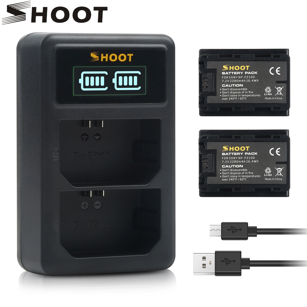SHOOT 2Pcs NP-FZ100 NPFZ100 NP FZ100 Battery + LED Dual USB Charger For Sony Alpha A7R III A7 III ILCE-7M3 A9R A9 9R 9S ILCE-9