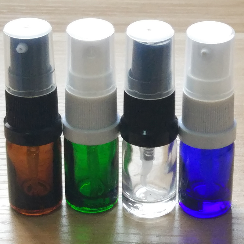 5ml Blue/Amber/Green/Clear Glass bottles with plastic mist sprayer or Lotion pump! if you order over 360pcs,price 10%off.