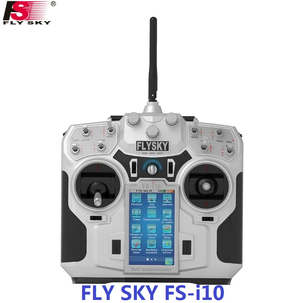 FLY SKY FS-i10 2.4G 10CH AFHDS 2A Automatic Frequency Hopping Transmitter+FlySky FS-iA10B 2.4G 10CH Receiver for RC Quadcopter image