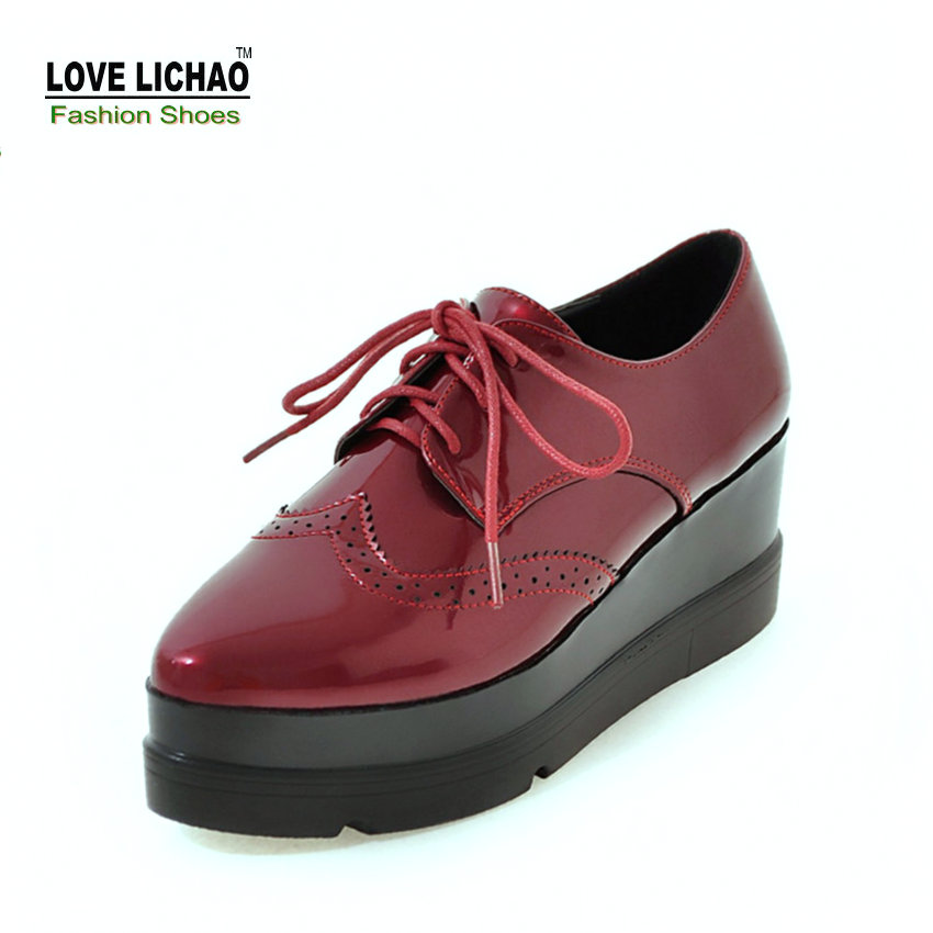 Love Lichao Spring 2017 Pointed Toe Lace-up Casual Flat Platform Oxford Shoes For Women Pu Sapato Feminino Size 35-39