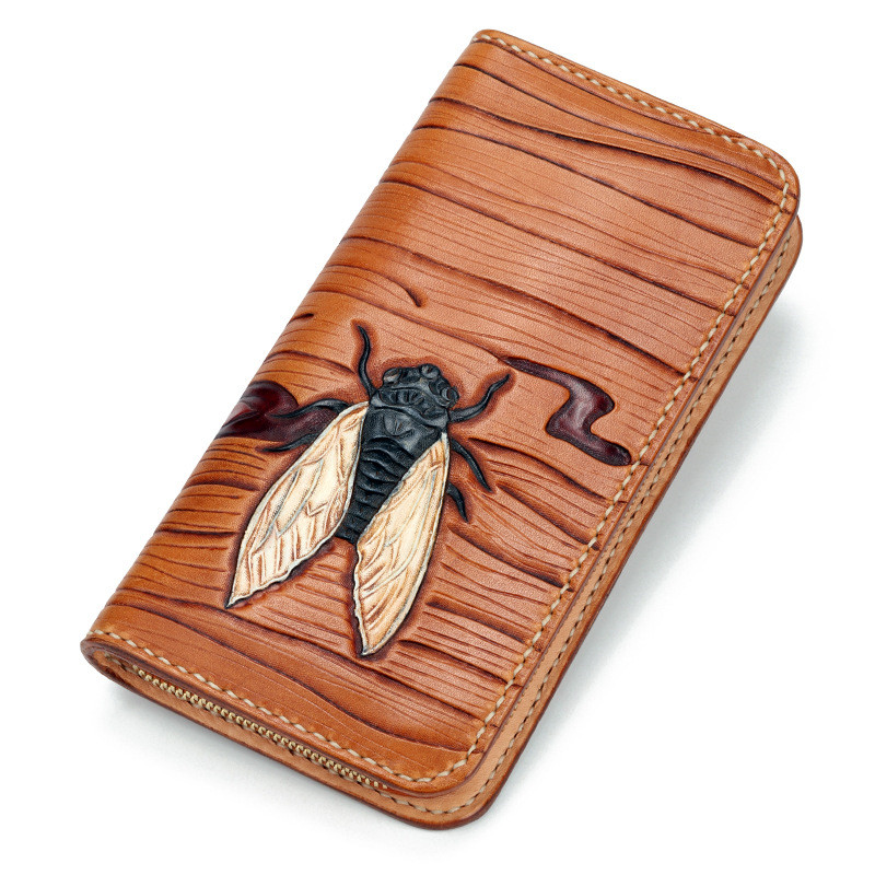 2018 Women Genuine Leather Wallets Carving Cicada Zipper Bag Purses Long Clutch Vegetable Tanned Leather Wallet Valentine Gift