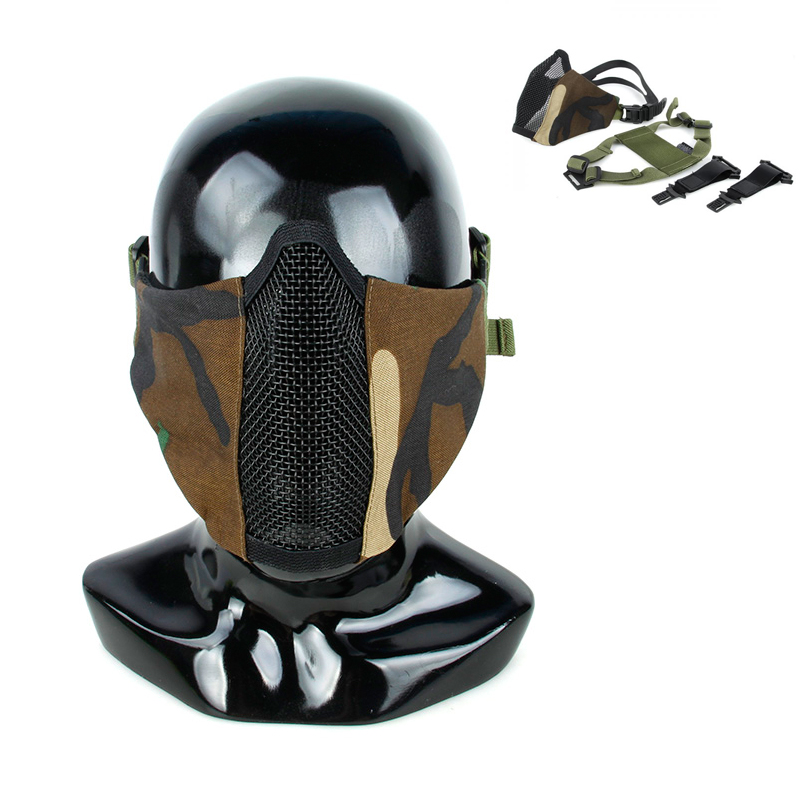 Woodland PDW Soft Side 2.0 Mesh Mask WL Multi-functional Tactical Action Mask Hard Half Face Mask