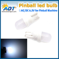 100 pcs Pure white High Quantity Frosted Lens The Shadow W5W AC 6.3V #555 T10 Wedge Pinball led Lights Non Ghosting