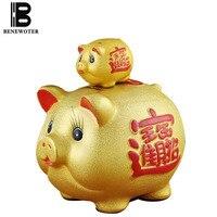 Creative Lucky Feng Shui Gift Cartoon Golden Pig Piggy Bank Ceramic Money Box Child Cash Coins Saving Box Deposit Box Home Decor