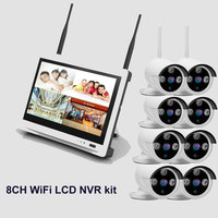 8ch Outdoor IR WiFi wireless security camera system 1080 12,5 zoll LCD WiFi drahtlose ip-kamera NVR kit