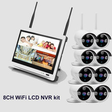 8ch Outdoor IR WiFi wireless security camera system 2MP 1080P 12.5 inches LCD WiFi wireless ip camera NVR kit