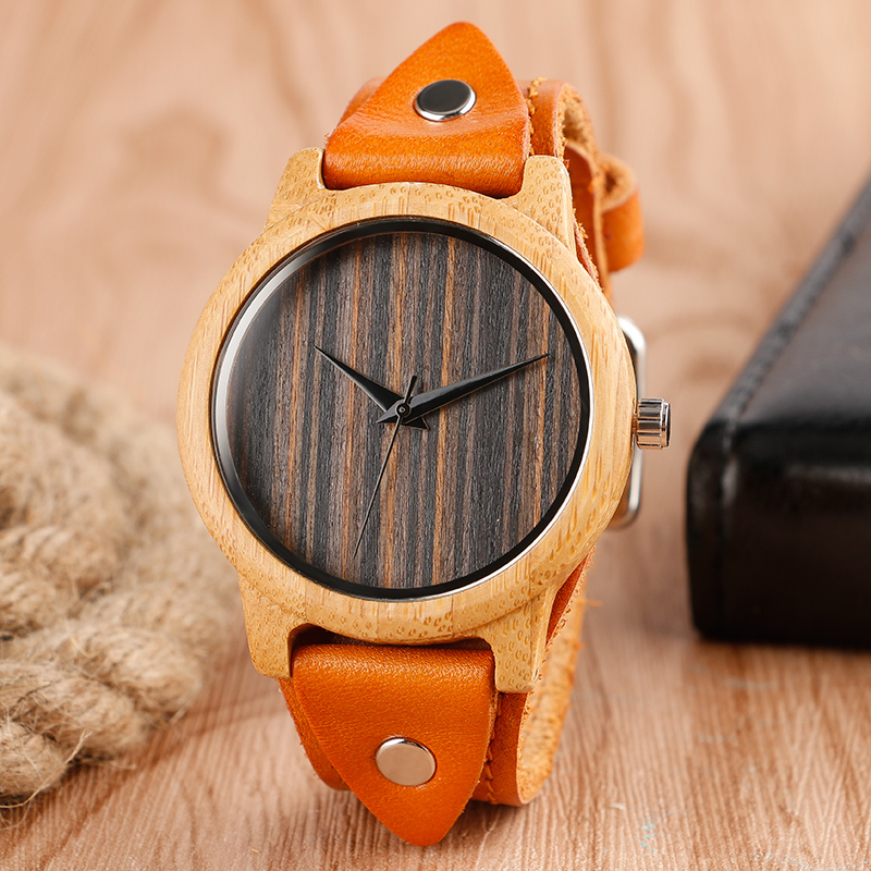 New Arrival Casual Cool Punk Rock Style Genuine Leather Mens Wristwatches Quartz Nature Wood Bamboo Watch Women Gift creative wooden bamboo wrist watch genuine leather band strap nature wood men women quartz casual sport bangle new arrival gift