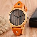 Nueva Llegada Casual Fresco Estilo Del Punk Rock de Cuero Genuino Para Hombre Relojes de Pulsera de Cuarzo Reloj de Madera de La Naturaleza De Bambú Mujeres Nave Libre Del Regalo