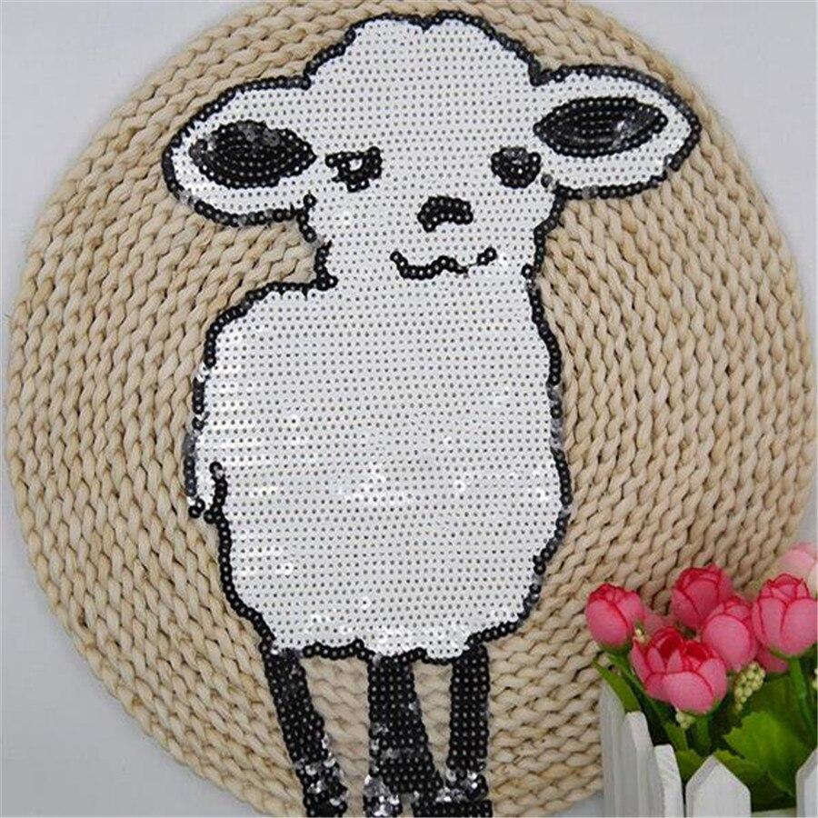 ᑐNueva llegada 1 unids ovejas blancas Lentejuelas hierro bordado en ...