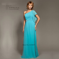 2017 Turquoise Blue Bridesmaid Dresses Long One Shoulder Crystals Custom Made Wedding Party Dress Plus Size