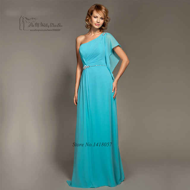 2017 Turquoise Blue Bridesmaid Dresses Long One Shoulder Crystals