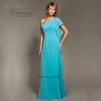 2017 Turquoise Blue Bridesmaid Dresses Long One Shoulder Crystals Custom Made Wedding Party Dress Plus Size Vestidos de Madrinha
