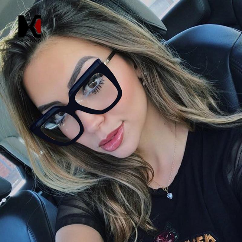 SHAUNA Oversize Square Eyeglasses Prescription For Women Myopia Frame Ins Popular Diopter Glasses Computer