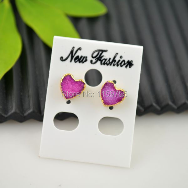 Finding - Fashion 3pair Pink Color Heart Shape Nature drusy Stone 24k Gold Color Stud Earring Jewellery Making