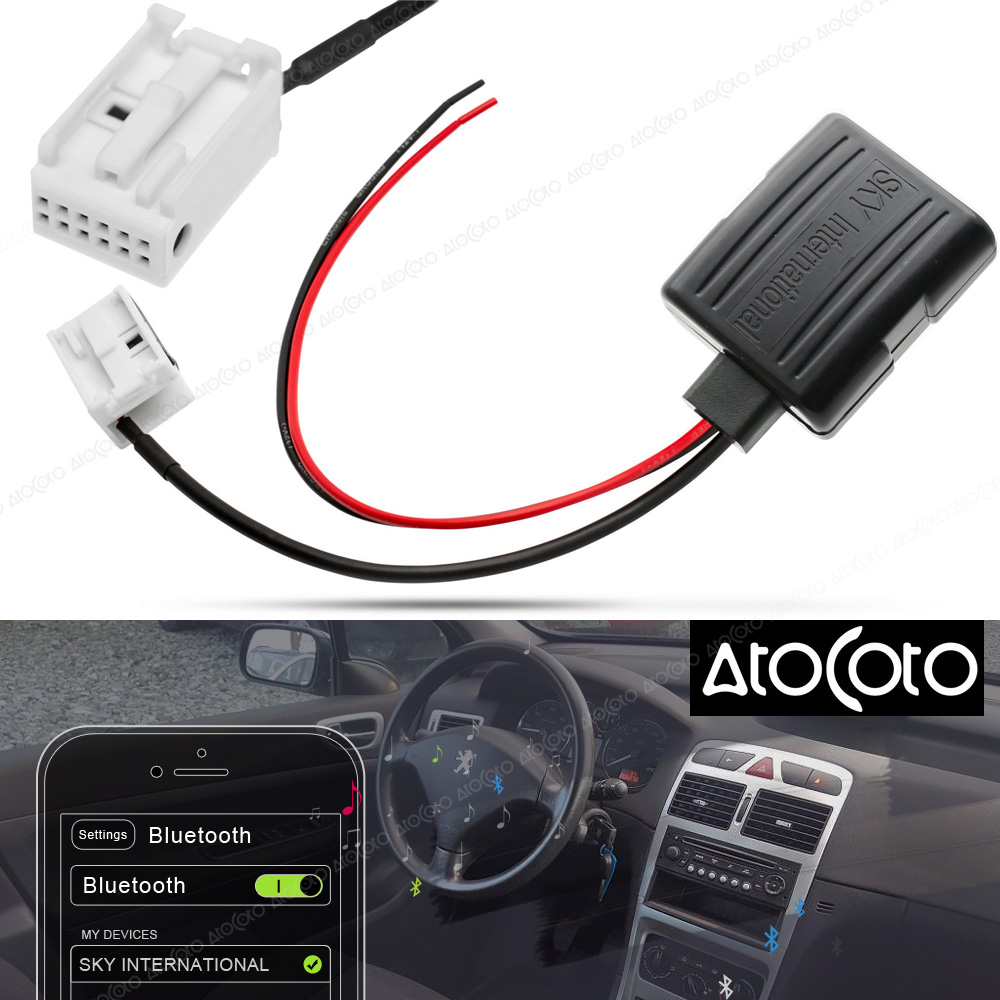 Bluetooth Module Adapter Aux Cable For Vw Rcd510 Rcd310: Car Bluetooth Module For Peugeot Radio Stereo Aux Cable
