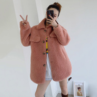 women long jacket winter women wool blend sheep fur outwear coat 2019 female girl fashion warm turn down collar outwear coats