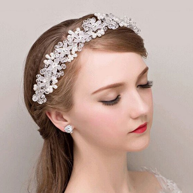 Women Wedding Bridal Hair Jewelry Crystal Pearl Flower Headpieces White Headdress Handmade Head Accessories