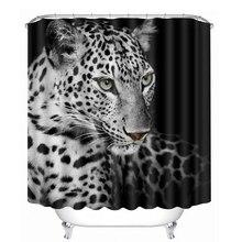 3D Jaguar Pattern Shower Curtains Ferocious Animal Bathroom Curtain Waterproof Thickened Bath Customizable